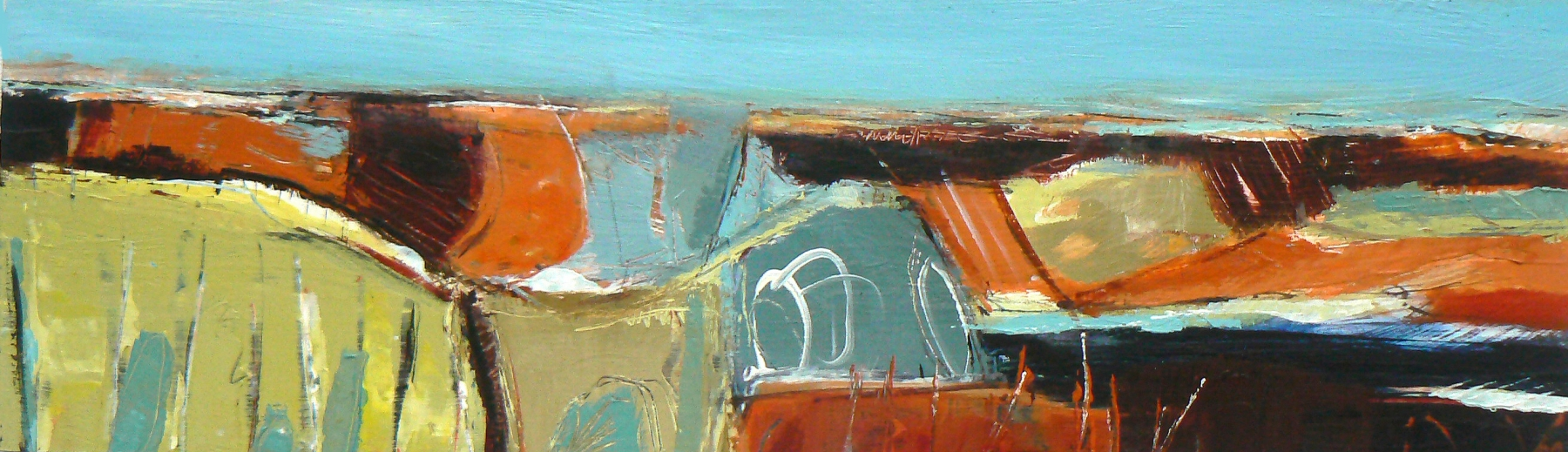 Standing Stones, 15 x 50cm, acrylic on wood panel (sold)