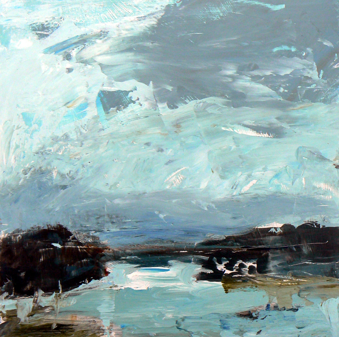 lake 2,  30 x 30cm, acrylic on wood panel, (sold)
