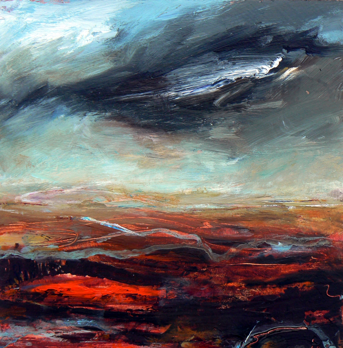 Storm Over Heath, 25 x 25cm, acrylic on wood panel, (sold)