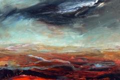 Storm Over Heath, 25 x 25cm, acrylic on wood panel, (sold)